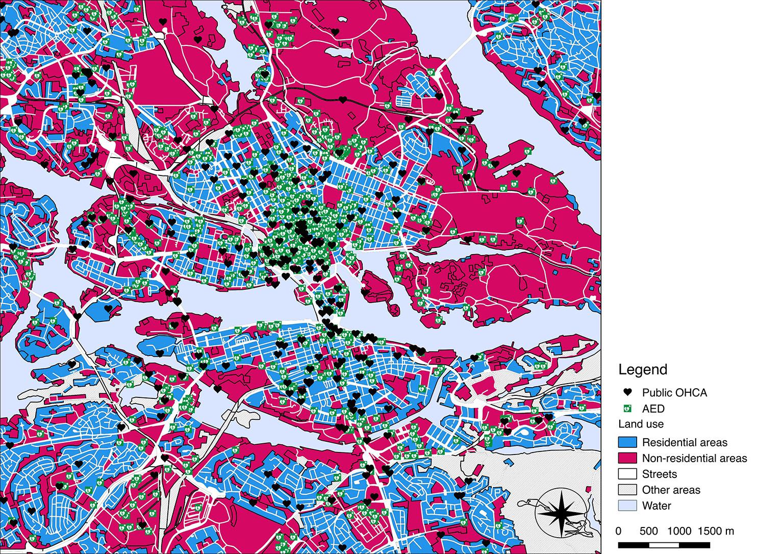 بررسی تفاوت در قراردهی دستگاه شوک خودکار در محله هایی با تعداد حملات قلبی خارج بیمارستانی یکسان