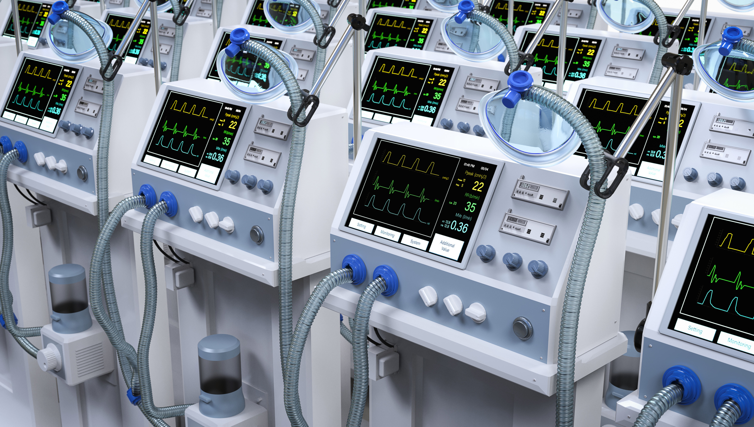 استفاده از دستگاه های پزشکی از جمله ونتیلاتورها در مواقع اورژانسی (COVID19)