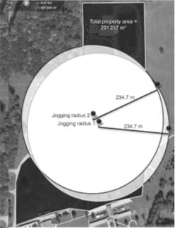 در تصویر زیر فاصله ی شعاعی مناسب پوشش دهی دستگاه شوک خودکار که با دویدن حاصل می شود نشان داده شده است